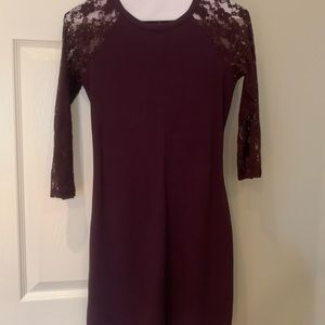 Express burgundy long sleeve with lace dress XS